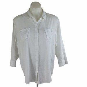 Elizabeth & James Button Front Shirt White Cotton